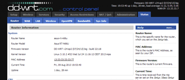 DD-WRT Web Interface on the ASUS RT N66U