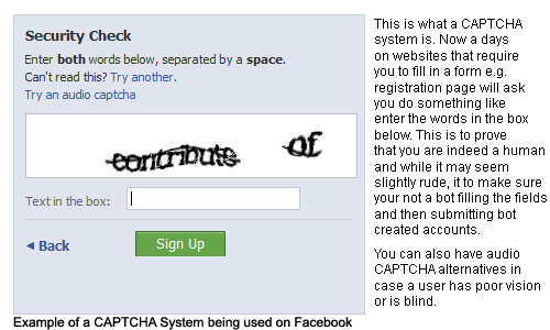 Captcha example on Facebook